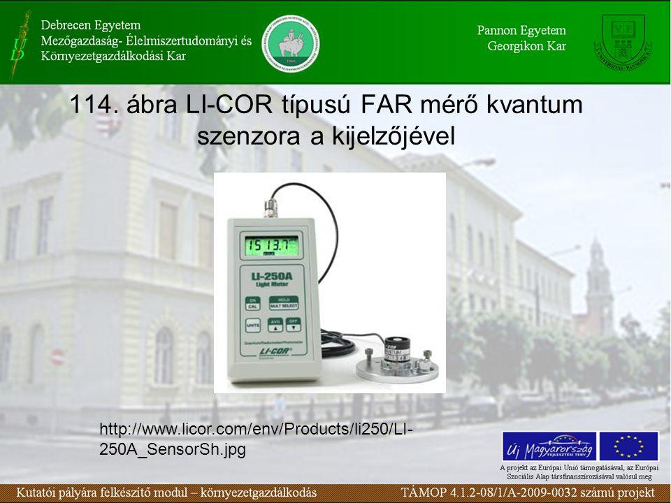 114. ábra LI-COR típusú FAR mérő kvantum szenzora a kijelzőjével http://www.licor.com/env/Products/li250/LI- 250A_SensorSh.jpg