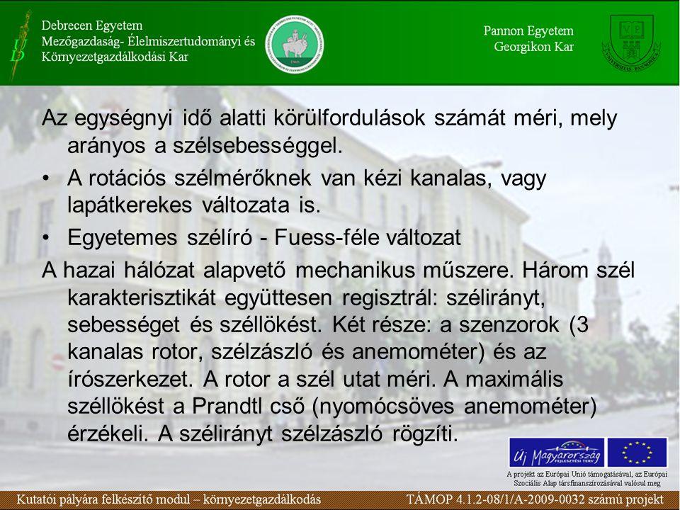 106. ábra Széljellemzők mérésére szolgáló eszközök összefoglalása Czelnai