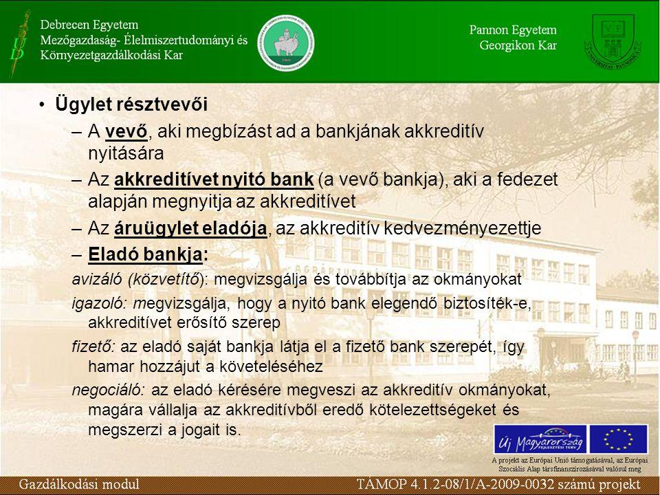 Ügylet résztvevői –A vevő, aki megbízást ad a bankjának akkreditív nyitására –Az akkreditívet nyitó bank (a vevő bankja), aki a fedezet alapján megnyitja az akkreditívet –Az áruügylet eladója, az akkreditív kedvezményezettje –Eladó bankja: avizáló (közvetítő): megvizsgálja és továbbítja az okmányokat igazoló: megvizsgálja, hogy a nyitó bank elegendő biztosíték-e, akkreditívet erősítő szerep fizető: az eladó saját bankja látja el a fizető bank szerepét, így hamar hozzájut a követeléséhez negociáló: az eladó kérésére megveszi az akkreditív okmányokat, magára vállalja az akkreditívből eredő kötelezettségeket és megszerzi a jogait is.