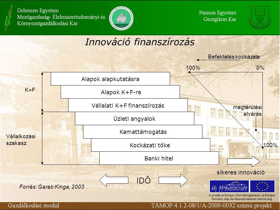 Innováció finanszírozás Forrás: Garab Kinga, 2003 Alapok alapkutatásra Alapok K+F-re Vállalati K+F finanszírozás Üzleti angyalok Kamattámogatás Kockázati tőke Banki hitel K+F Vállalkozási szakasz megtérülési elvárás 100%0% 100% Befektetés kockázata sikeres innováció IDŐ