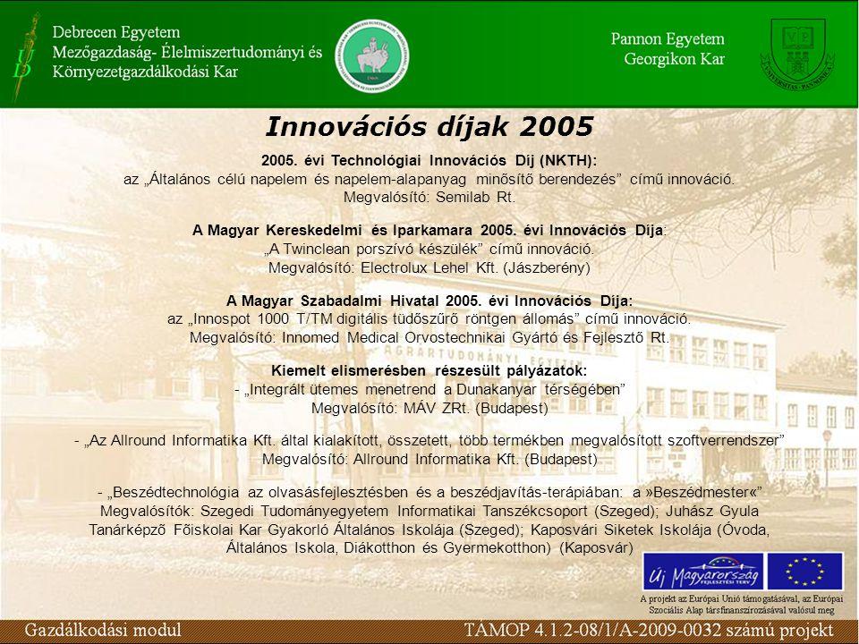 """Innovációs díjak 2005 2005. évi Technológiai Innovációs Díj (NKTH): az """"Általános célú napelem és napelem-alapanyag minősítő berendezés"""" című innováci"""