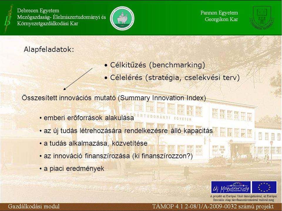 Alapfeladatok: Célkitűzés (benchmarking) Célelérés (stratégia, cselekvési terv) Összesített innovációs mutató (Summary Innovation Index) emberi erőfor