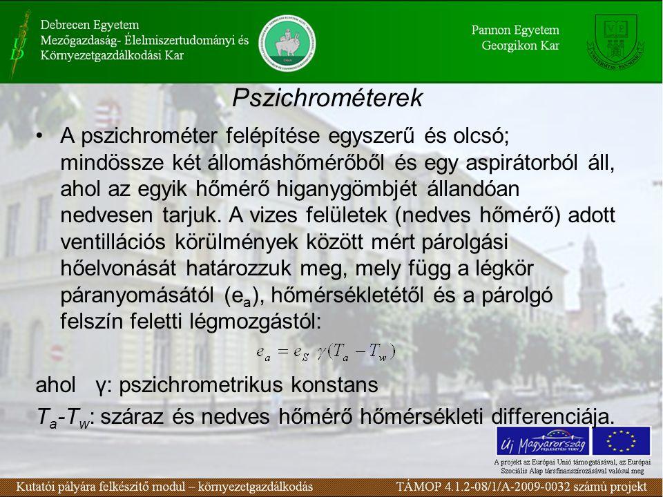 Pszichrométerek A pszichrométer felépítése egyszerű és olcsó; mindössze két állomáshőmérőből és egy aspirátorból áll, ahol az egyik hőmérő higanygömbj