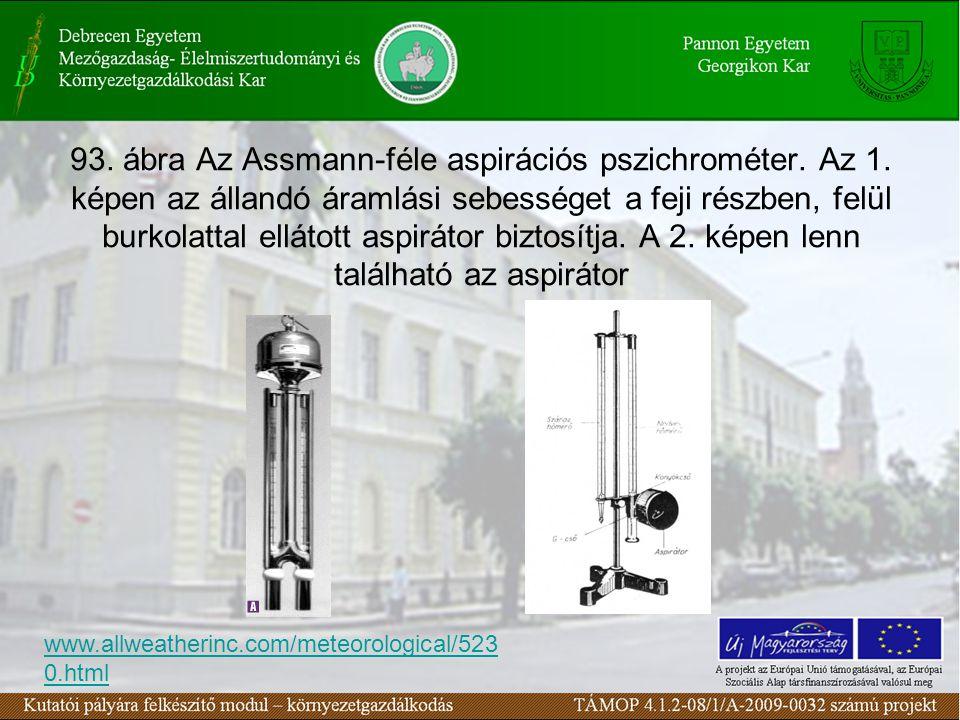 93. ábra Az Assmann-féle aspirációs pszichrométer. Az 1. képen az állandó áramlási sebességet a feji részben, felül burkolattal ellátott aspirátor biz