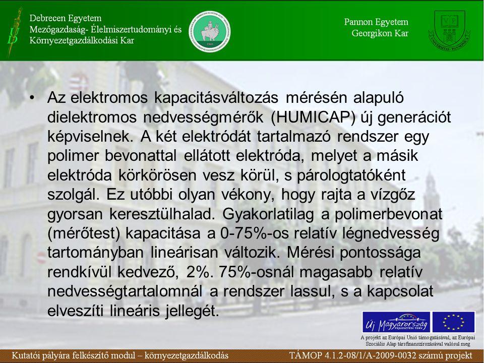 Az elektromos kapacitásváltozás mérésén alapuló dielektromos nedvességmérők (HUMICAP) új generációt képviselnek. A két elektródát tartalmazó rendszer