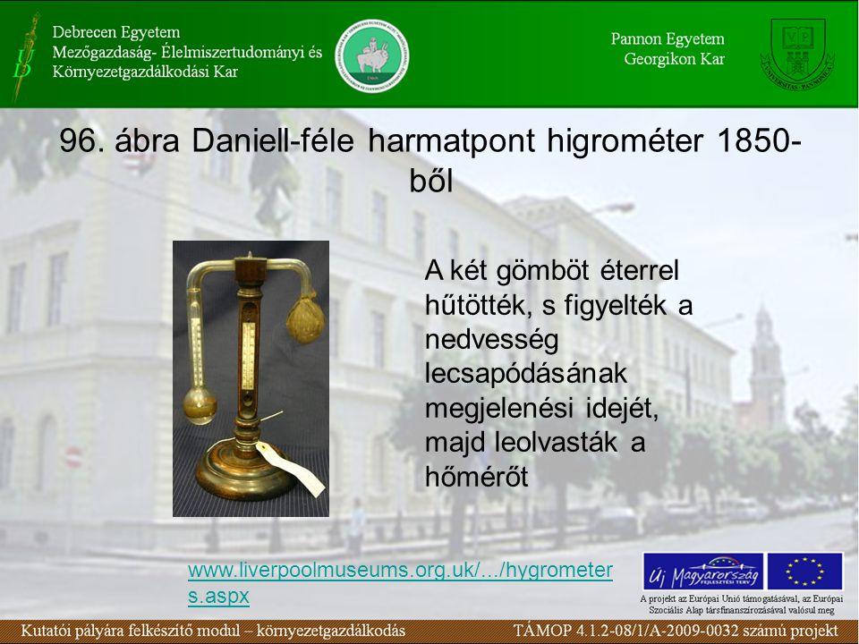 96. ábra Daniell-féle harmatpont higrométer 1850- ből www.liverpoolmuseums.org.uk/.../hygrometer s.aspx A két gömböt éterrel hűtötték, s figyelték a n
