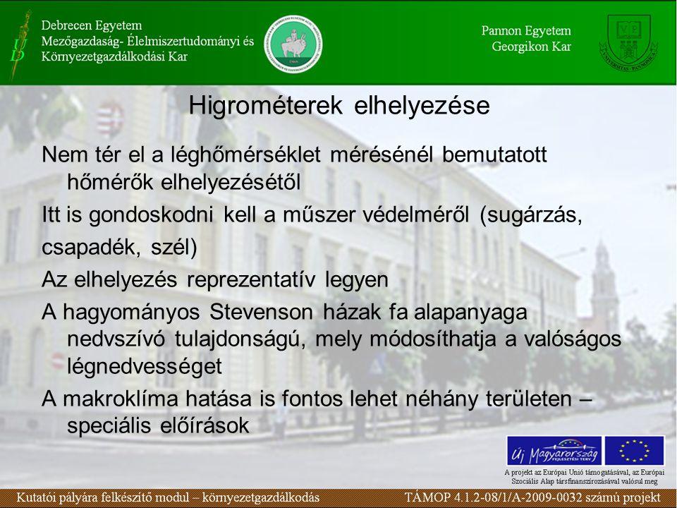 Higrométerek elhelyezése Nem tér el a léghőmérséklet mérésénél bemutatott hőmérők elhelyezésétől Itt is gondoskodni kell a műszer védelméről (sugárzás, csapadék, szél) Az elhelyezés reprezentatív legyen A hagyományos Stevenson házak fa alapanyaga nedvszívó tulajdonságú, mely módosíthatja a valóságos légnedvességet A makroklíma hatása is fontos lehet néhány területen – speciális előírások