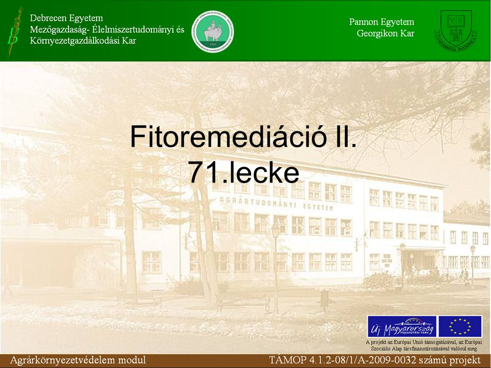 Fitoremediáció II. 71.lecke