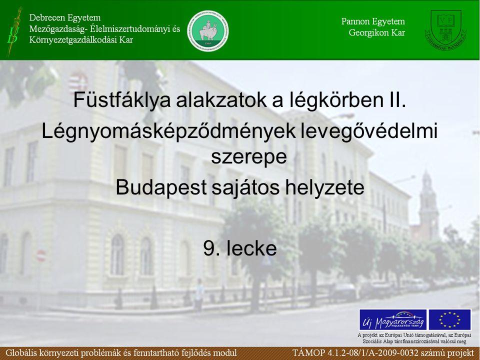 Füstfáklya alakzatok a légkörben II. Légnyomásképződmények levegővédelmi szerepe Budapest sajátos helyzete 9. lecke
