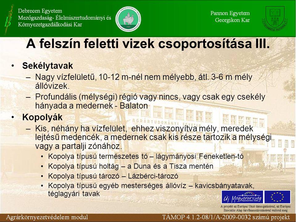 A felszín feletti vizek csoportosítása IV.Kistavak (tócsák) Közepes v.