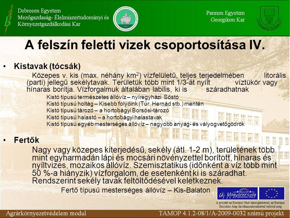 A felszín feletti vizek csoportosítása IV. Kistavak (tócsák) Közepes v.