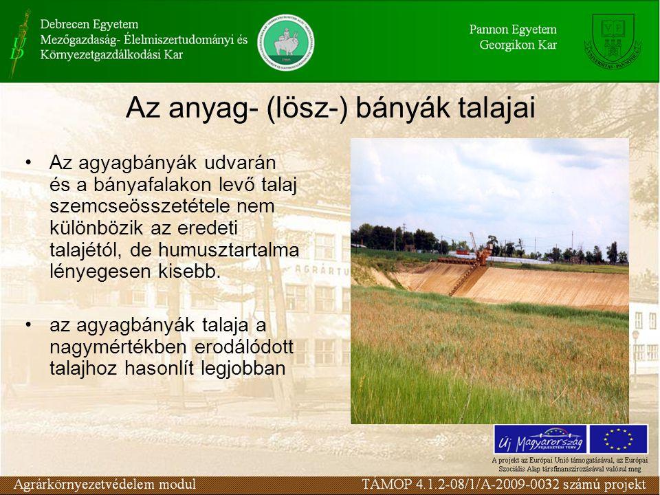 Az anyag- (lösz-) bányák talajai Az agyagbányák udvarán és a bányafalakon levő talaj szemcseösszetétele nem különbözik az eredeti talajétól, de humusztartalma lényegesen kisebb.