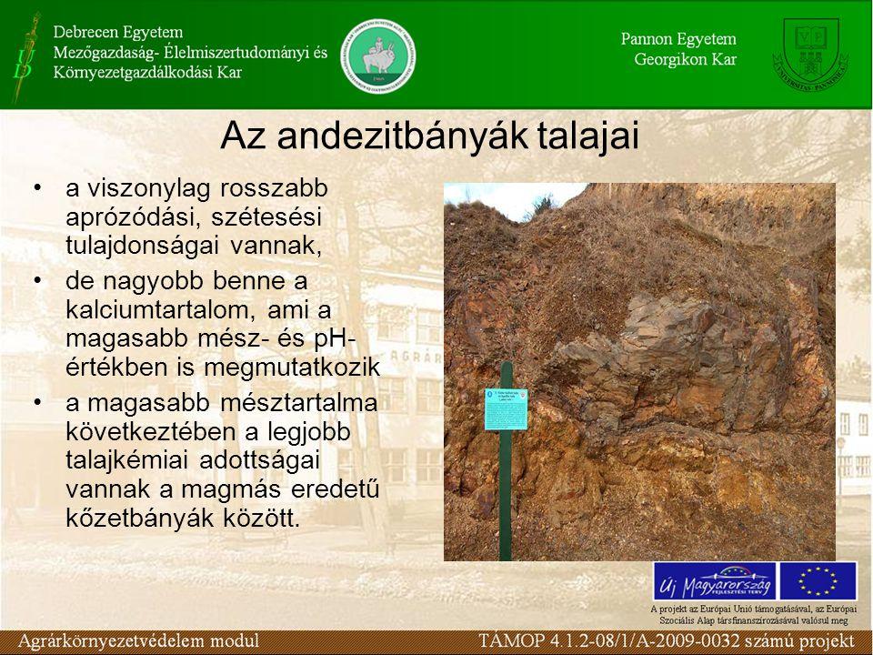Az andezitbányák talajai a viszonylag rosszabb aprózódási, szétesési tulajdonságai vannak, de nagyobb benne a kalciumtartalom, ami a magasabb mész- és pH- értékben is megmutatkozik a magasabb mésztartalma következtében a legjobb talajkémiai adottságai vannak a magmás eredetű kőzetbányák között.
