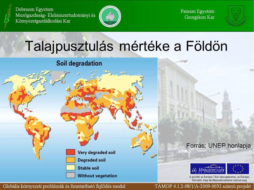 Talajpusztulás mértéke a Földön Forrás: UNEP honlapja