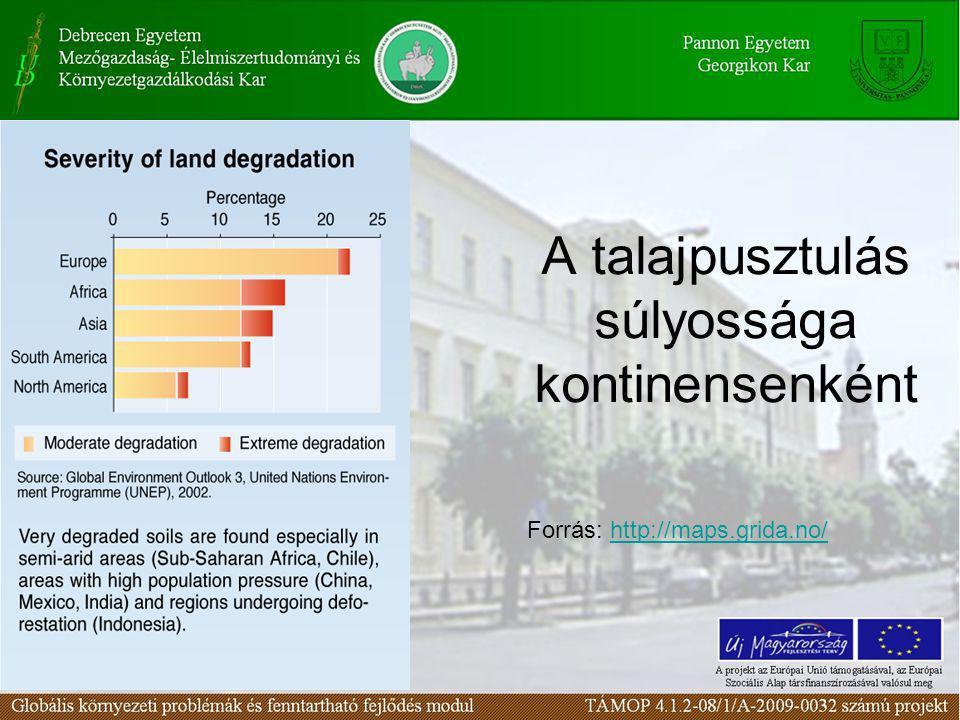 A talajpusztulás súlyossága kontinensenként Forrás: http://maps.grida.no/http://maps.grida.no/