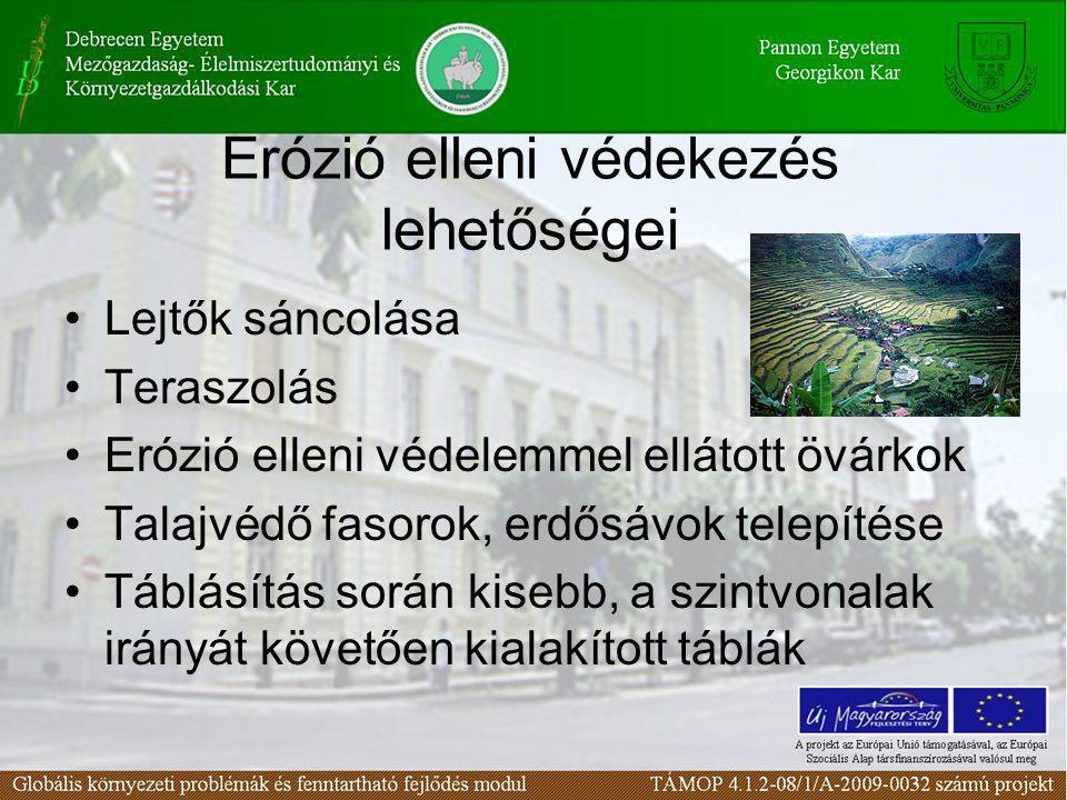 Erózió elleni védekezés lehetőségei Lejtők sáncolása Teraszolás Erózió elleni védelemmel ellátott övárkok Talajvédő fasorok, erdősávok telepítése Tábl