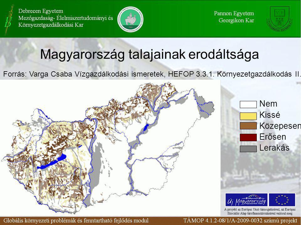 Magyarország talajainak erodáltsága Nem Kissé Közepesen Erősen Lerakás Forrás: Varga Csaba Vízgazdálkodási ismeretek, HEFOP 3.3.1. Környezetgazdálkodá