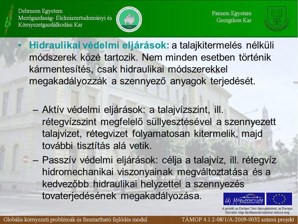 Hidraulikai védelmi eljárások: a talajkitermelés nélküli módszerek közé tartozik. Nem minden esetben történik kármentesítés, csak hidraulikai módszere