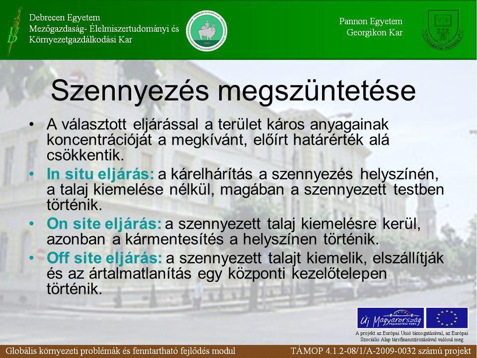 Szennyezés megszüntetése A választott eljárással a terület káros anyagainak koncentrációját a megkívánt, előírt határérték alá csökkentik. In situ elj