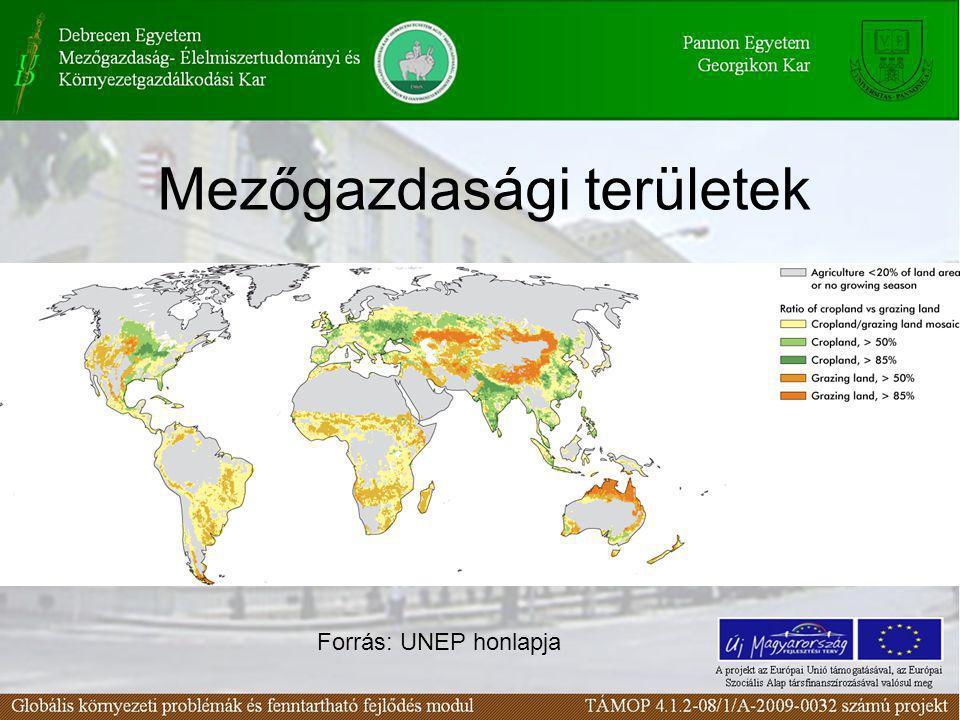 Mezőgazdasági területek Forrás: UNEP honlapja