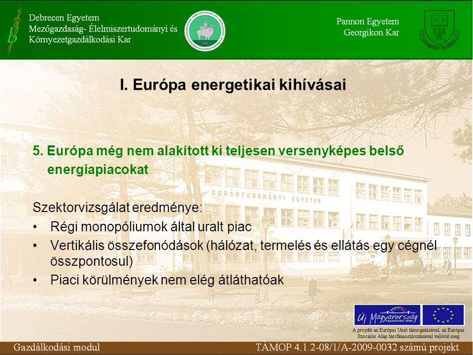 5. Európa még nem alakított ki teljesen versenyképes belső energiapiacokat Szektorvizsgálat eredménye: Régi monopóliumok által uralt piac Vertikális ö