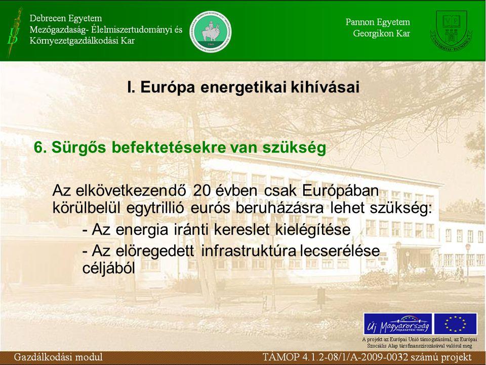 I. Európa energetikai kihívásai 6. Sürgős befektetésekre van szükség Az elkövetkezendő 20 évben csak Európában körülbelül egytrillió eurós beruházásra
