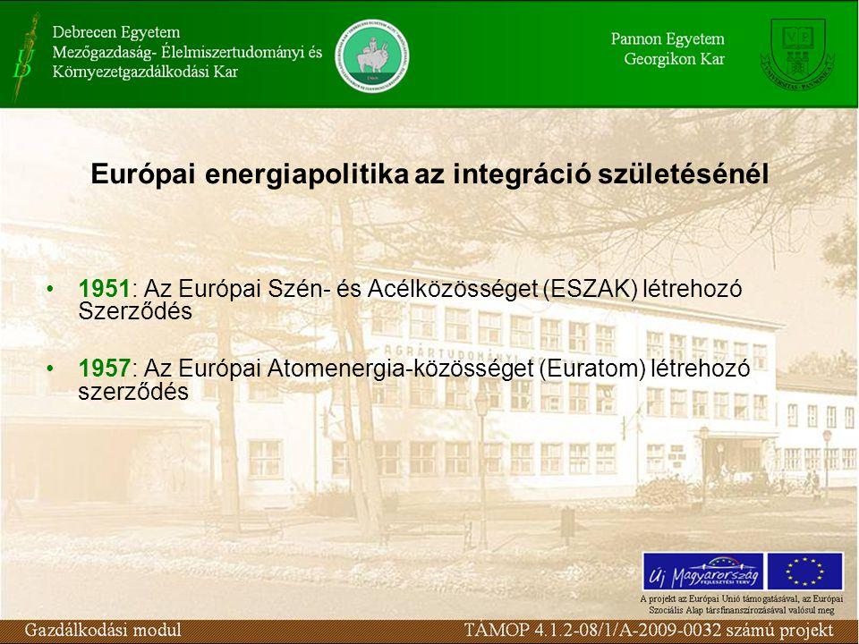 Európai energiapolitika az integráció születésénél 1951: Az Európai Szén- és Acélközösséget (ESZAK) létrehozó Szerződés 1957: Az Európai Atomenergia-közösséget (Euratom) létrehozó szerződés