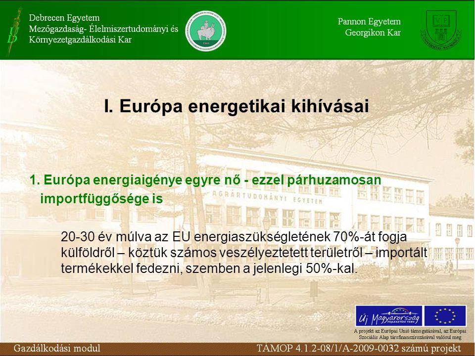 1. Európa energiaigénye egyre nő - ezzel párhuzamosan importfüggősége is 20-30 év múlva az EU energiaszükségletének 70%-át fogja külföldről – köztük s