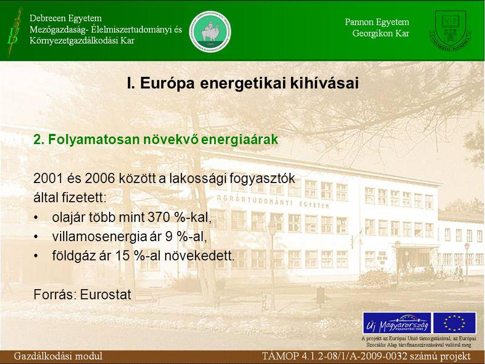 2. Folyamatosan növekvő energiaárak 2001 és 2006 között a lakossági fogyasztók által fizetett: olajár több mint 370 %-kal, villamosenergia ár 9 %-al,