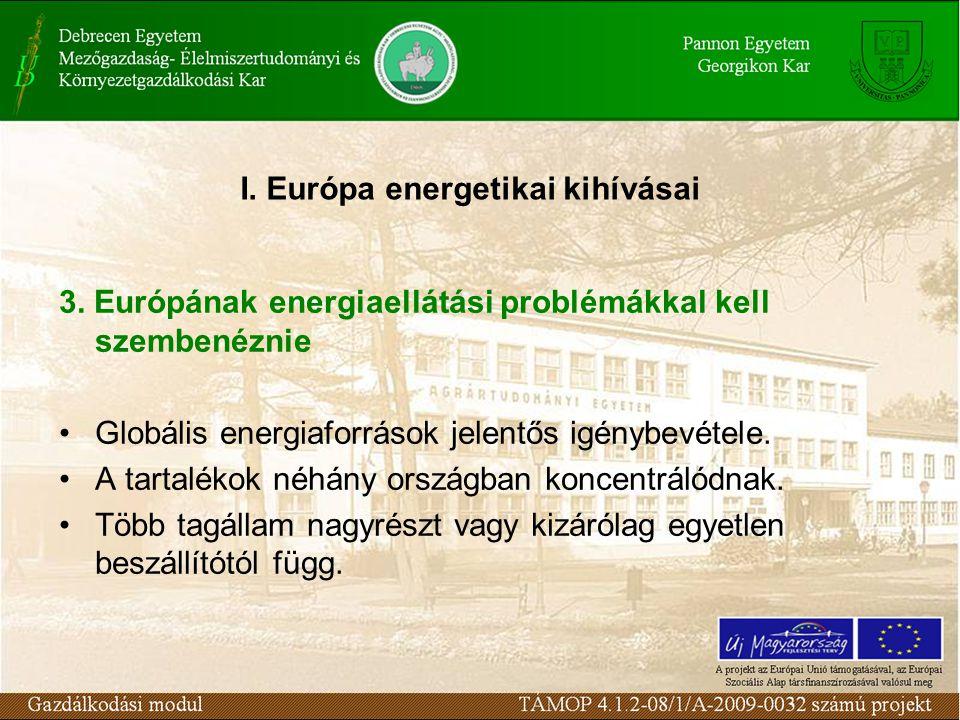 3. Európának energiaellátási problémákkal kell szembenéznie Globális energiaforrások jelentős igénybevétele. A tartalékok néhány országban koncentráló