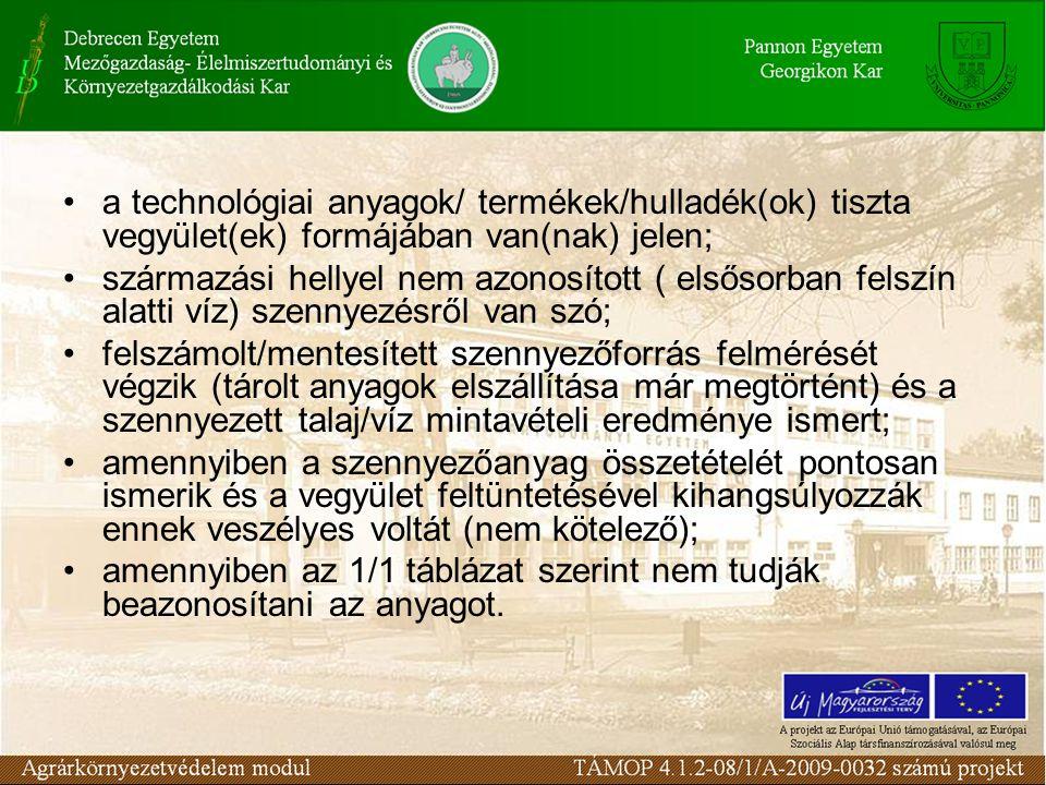 a technológiai anyagok/ termékek/hulladék(ok) tiszta vegyület(ek) formájában van(nak) jelen; származási hellyel nem azonosított ( elsősorban felszín a