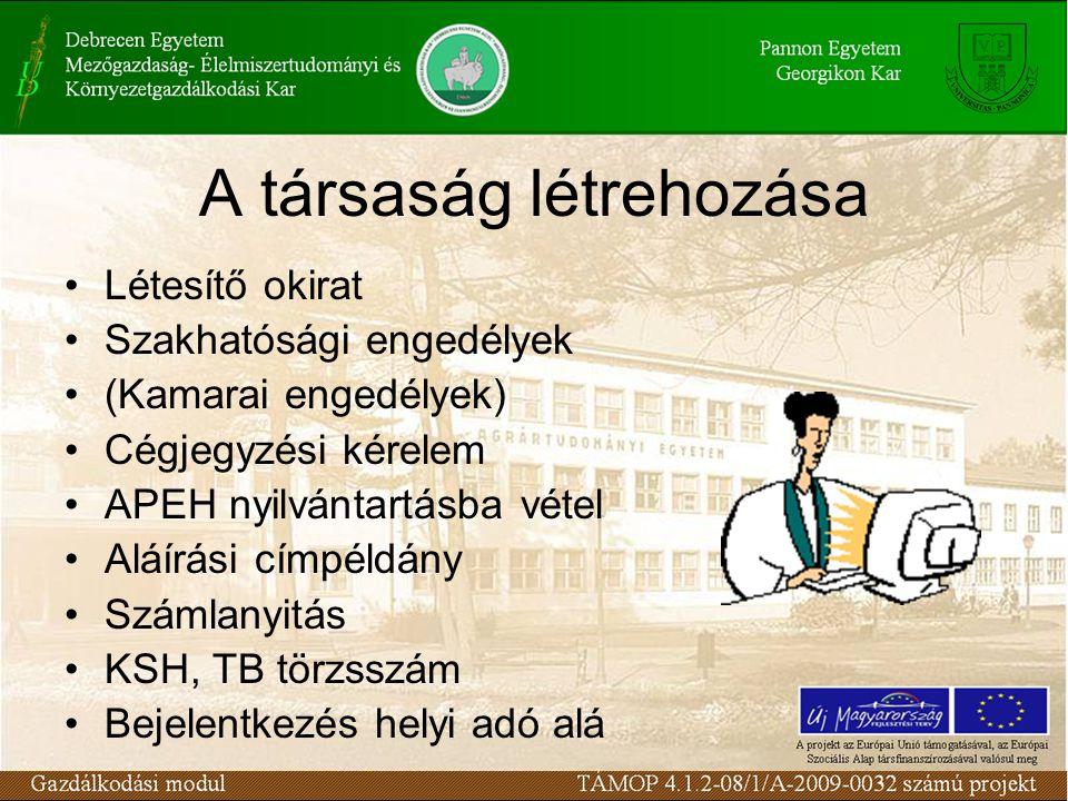 A társaság létrehozása Létesítő okirat Szakhatósági engedélyek (Kamarai engedélyek) Cégjegyzési kérelem APEH nyilvántartásba vétel Aláírási címpéldány Számlanyitás KSH, TB törzsszám Bejelentkezés helyi adó alá