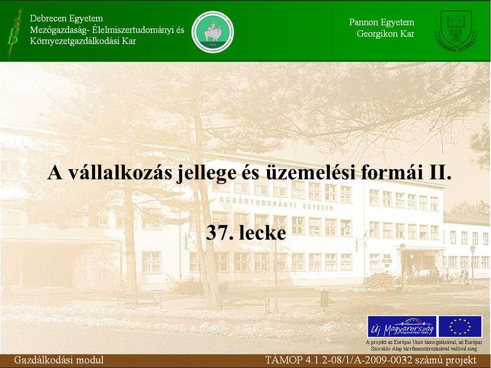 A vállalkozás jellege és üzemelési formái II. 37. lecke