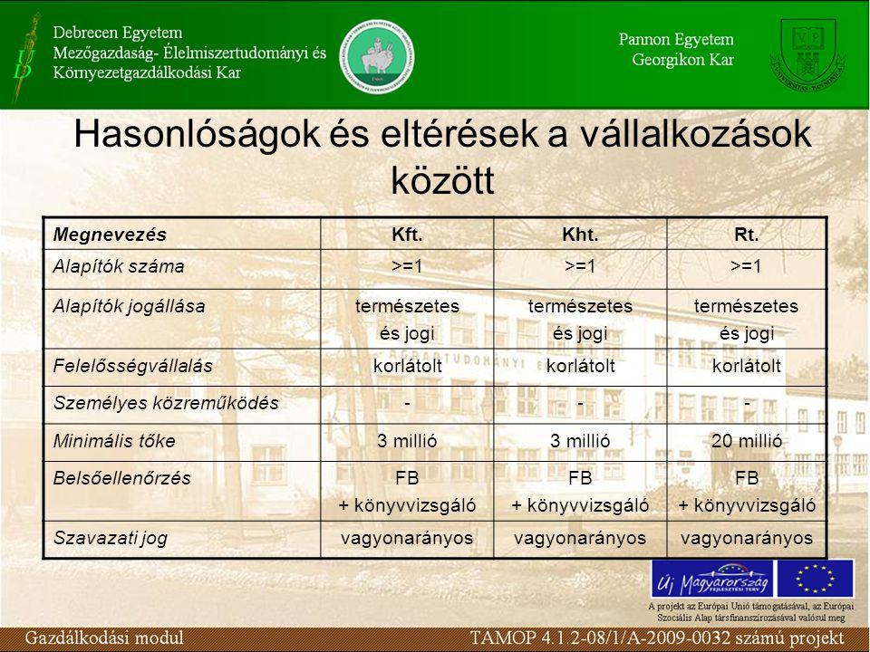 Hasonlóságok és eltérések a vállalkozások között MegnevezésKft.Kht.Rt.