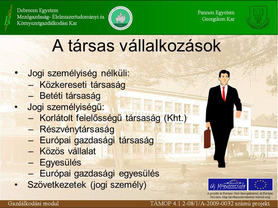 A társas vállalkozások Jogi személyiség nélküli: – Közkereseti társaság – Betéti társaság Jogi személyiségű: – Korlátolt felelősségű társaság (Kht.) – Részvénytársaság – Európai gazdasági társaság – Közös vállalat – Egyesülés – Európai gazdasági egyesülés Szövetkezetek (jogi személy)