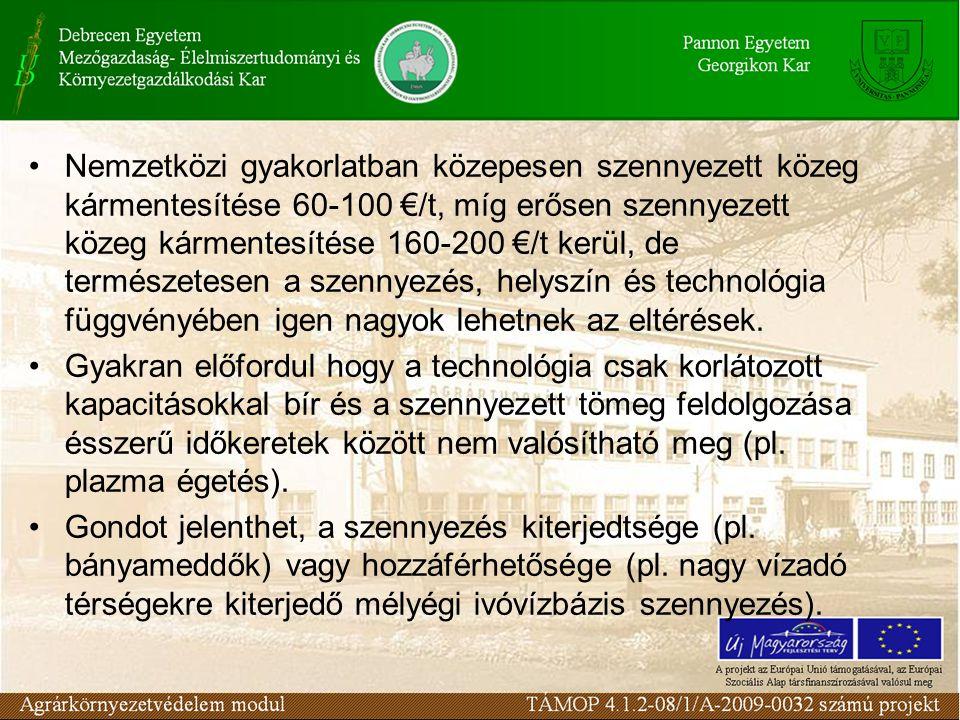 Nemzetközi gyakorlatban közepesen szennyezett közeg kármentesítése 60-100 €/t, míg erősen szennyezett közeg kármentesítése 160-200 €/t kerül, de természetesen a szennyezés, helyszín és technológia függvényében igen nagyok lehetnek az eltérések.