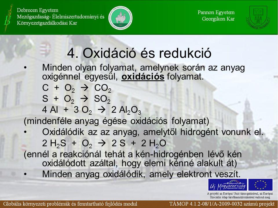 Minden olyan folyamat, amelynek során az anyag oxigénnel egyesül, oxidációs folyamat. C + O 2  CO 2 S + O 2  SO 2 4 Al + 3 O 2  2 Al 2 O 3 (mindenf
