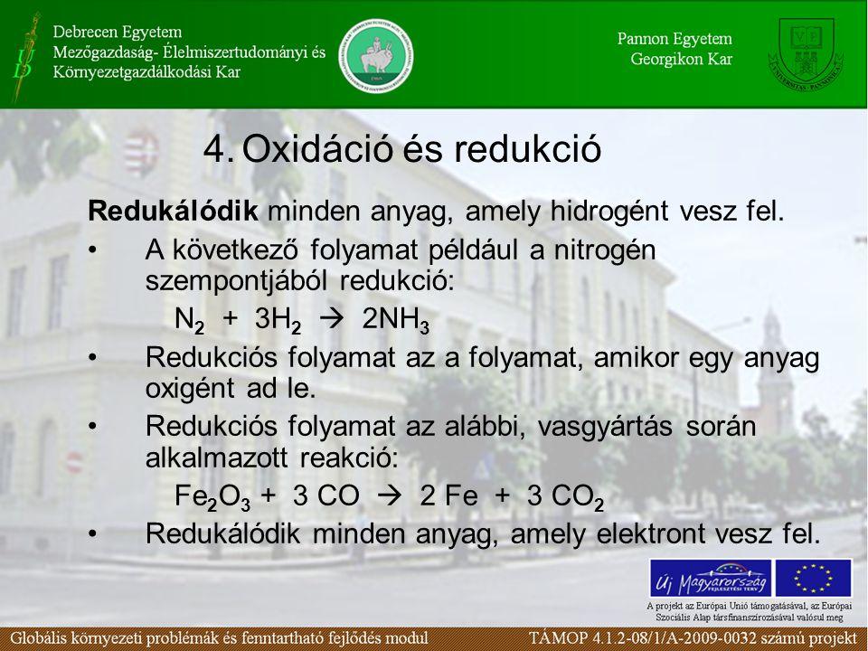 Redukálódik minden anyag, amely hidrogént vesz fel. A következő folyamat például a nitrogén szempontjából redukció: N 2 + 3H 2  2NH 3 Redukciós folya