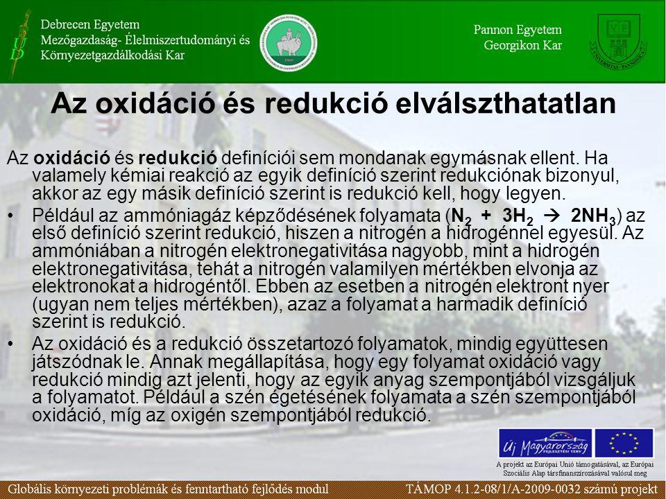 Az oxidáció és redukció elválszthatatlan Az oxidáció és redukció definíciói sem mondanak egymásnak ellent. Ha valamely kémiai reakció az egyik definíc