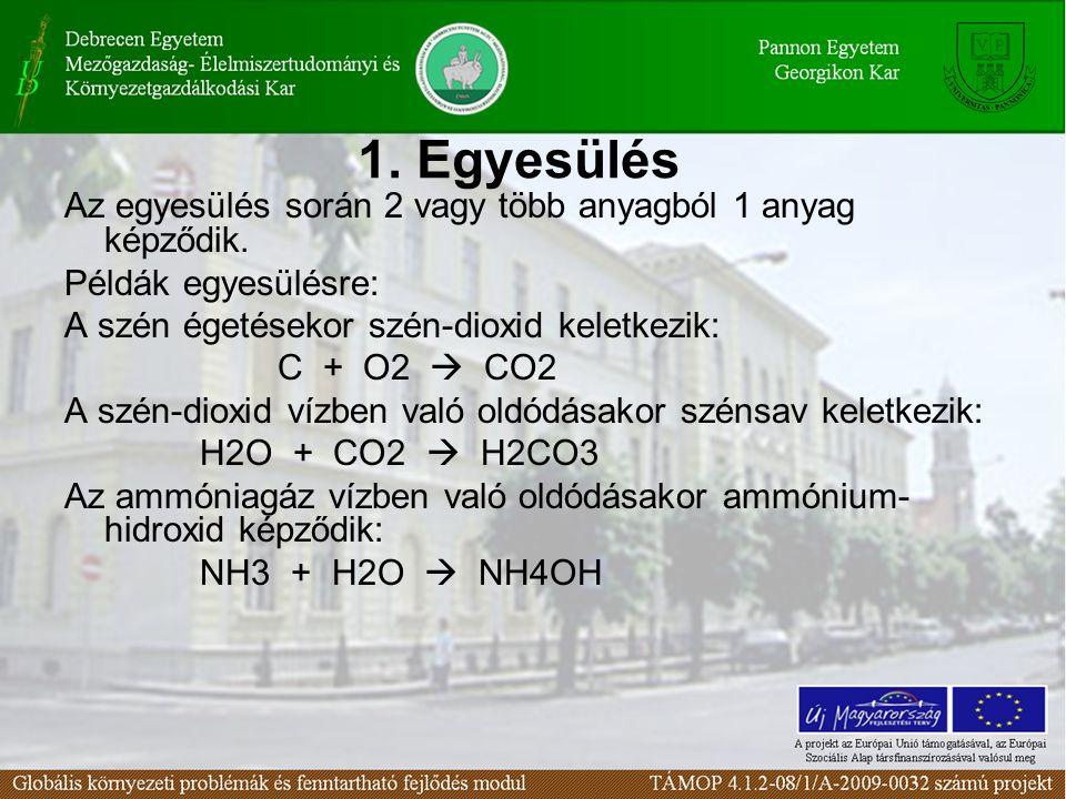 1. Egyesülés Az egyesülés során 2 vagy több anyagból 1 anyag képződik. Példák egyesülésre: A szén égetésekor szén-dioxid keletkezik: C + O2  CO2 A sz