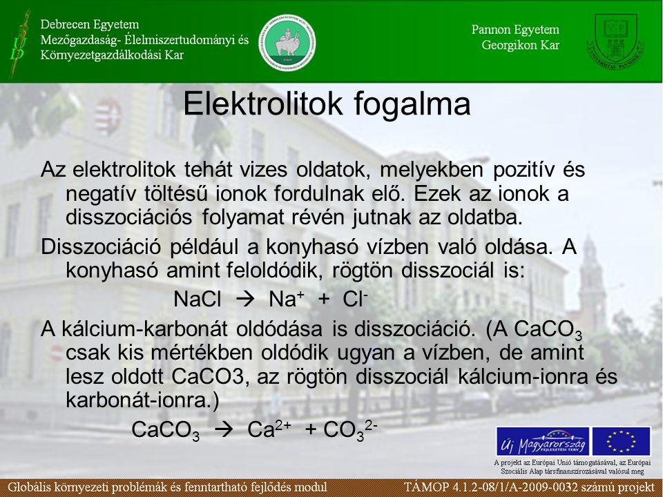 Elektrolitok fogalma Az elektrolitok tehát vizes oldatok, melyekben pozitív és negatív töltésű ionok fordulnak elő. Ezek az ionok a disszociációs foly