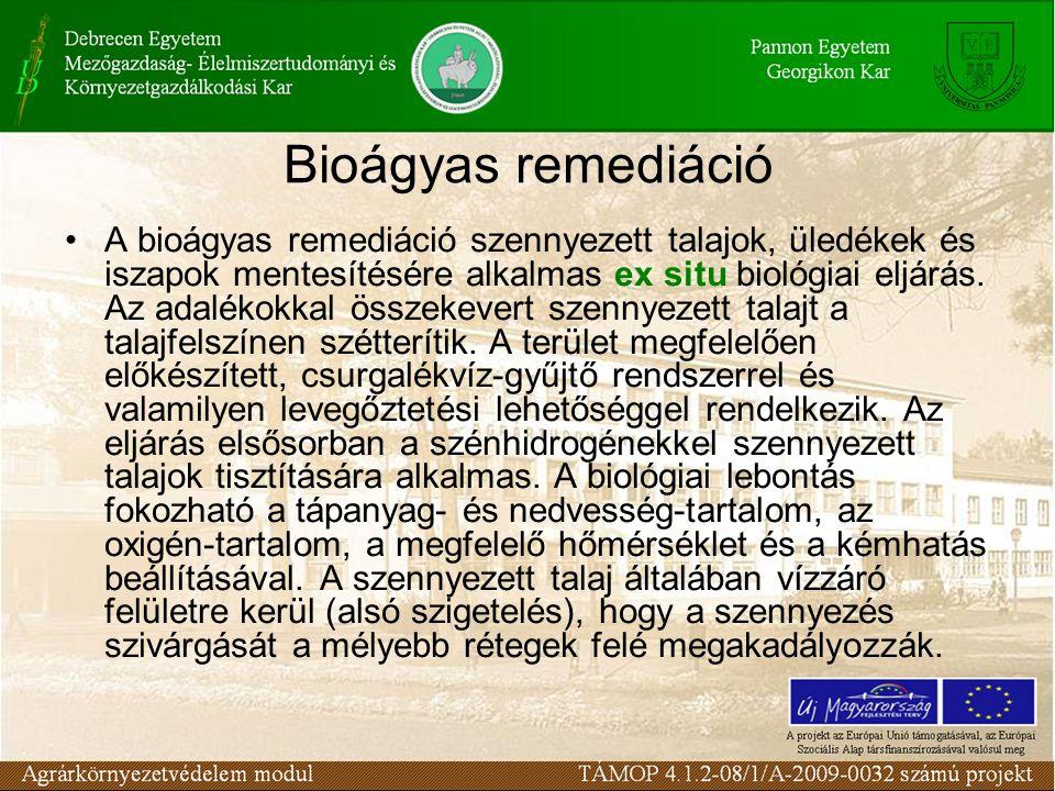 A bioágyas remediáció szennyezett talajok, üledékek és iszapok mentesítésére alkalmas ex situ biológiai eljárás. Az adalékokkal összekevert szennyezet