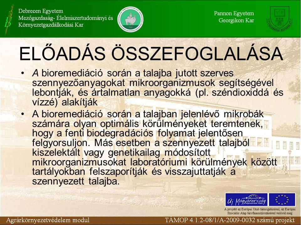 A bioremediáció során a talajba jutott szerves szennyezőanyagokat mikroorganizmusok segítségével lebontják, és ártalmatlan anyagokká (pl. széndioxiddá