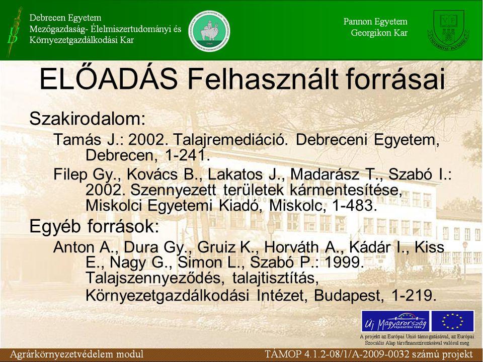 Szakirodalom: Tamás J.: 2002. Talajremediáció. Debreceni Egyetem, Debrecen, 1-241. Filep Gy., Kovács B., Lakatos J., Madarász T., Szabó I.: 2002. Szen