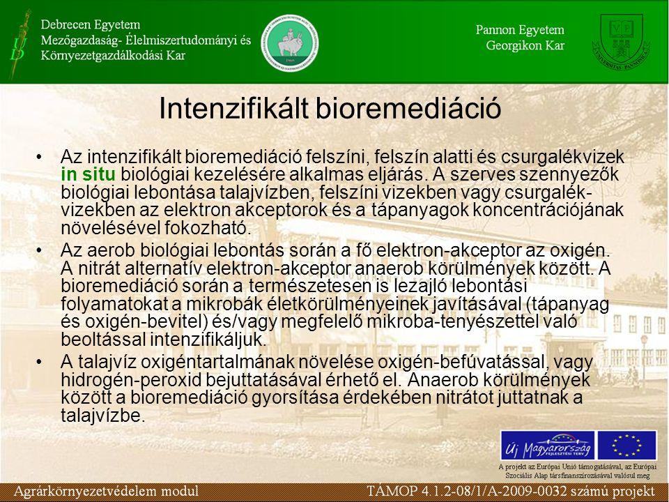 Az intenzifikált bioremediáció felszíni, felszín alatti és csurgalékvizek in situ biológiai kezelésére alkalmas eljárás. A szerves szennyezők biológia