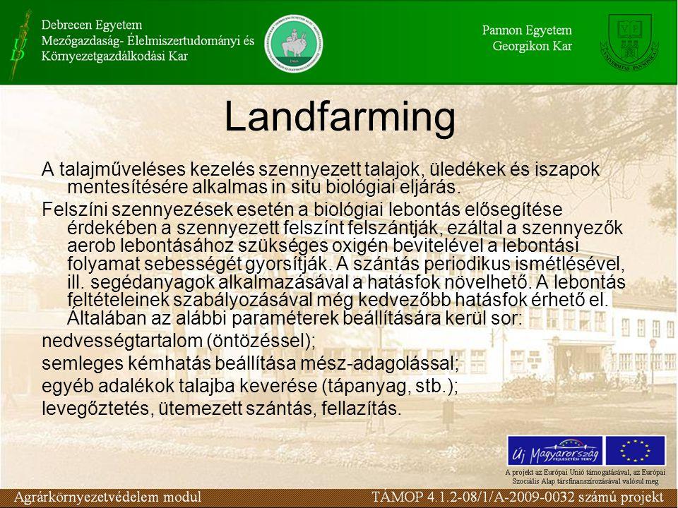 A talajműveléses kezelés szennyezett talajok, üledékek és iszapok mentesítésére alkalmas in situ biológiai eljárás. Felszíni szennyezések esetén a bio