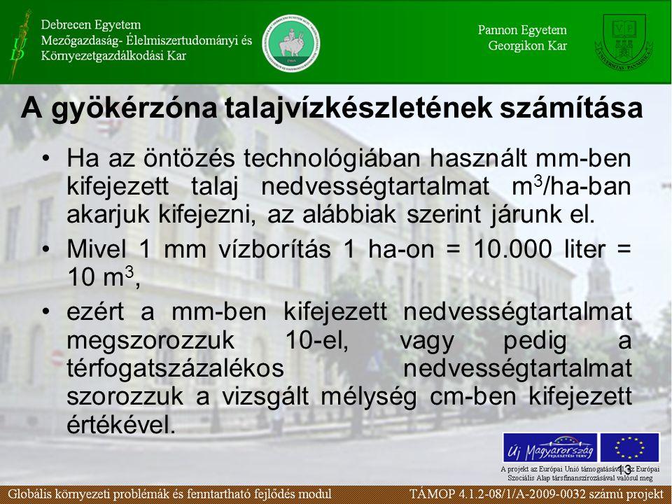 13 A gyökérzóna talajvízkészletének számítása Ha az öntözés technológiában használt mm-ben kifejezett talaj nedvességtartalmat m 3 /ha-ban akarjuk kif
