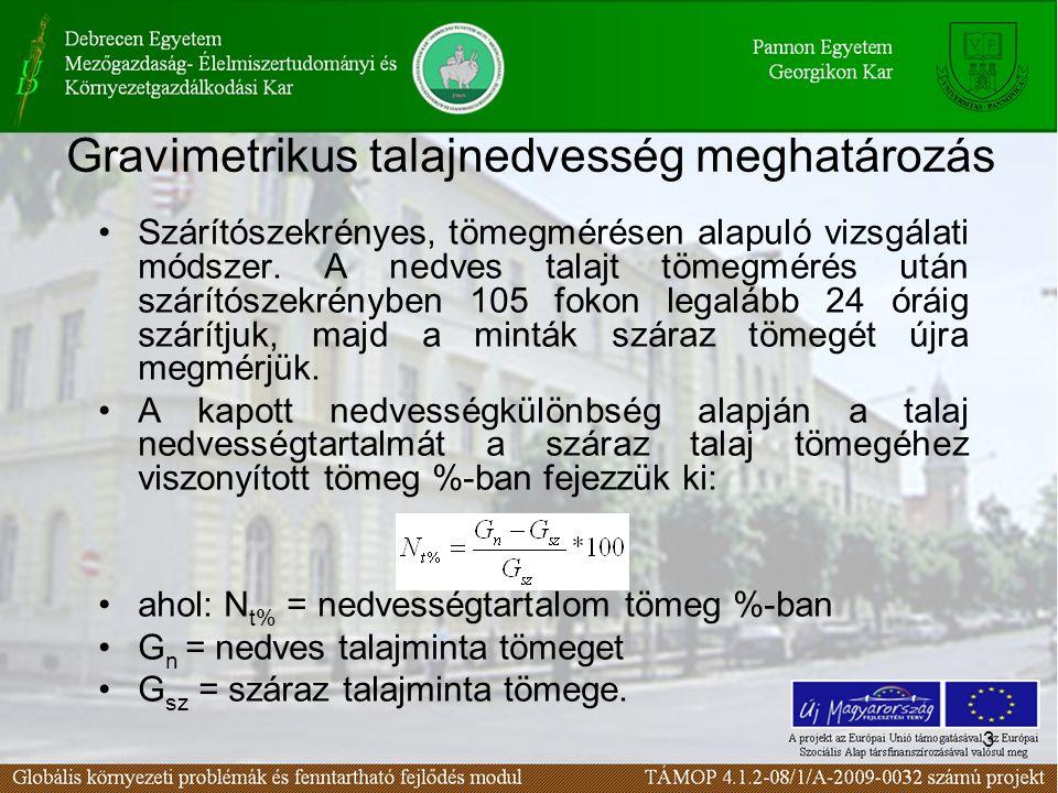 3 Gravimetrikus talajnedvesség meghatározás Szárítószekrényes, tömegmérésen alapuló vizsgálati módszer. A nedves talajt tömegmérés után szárítószekrén