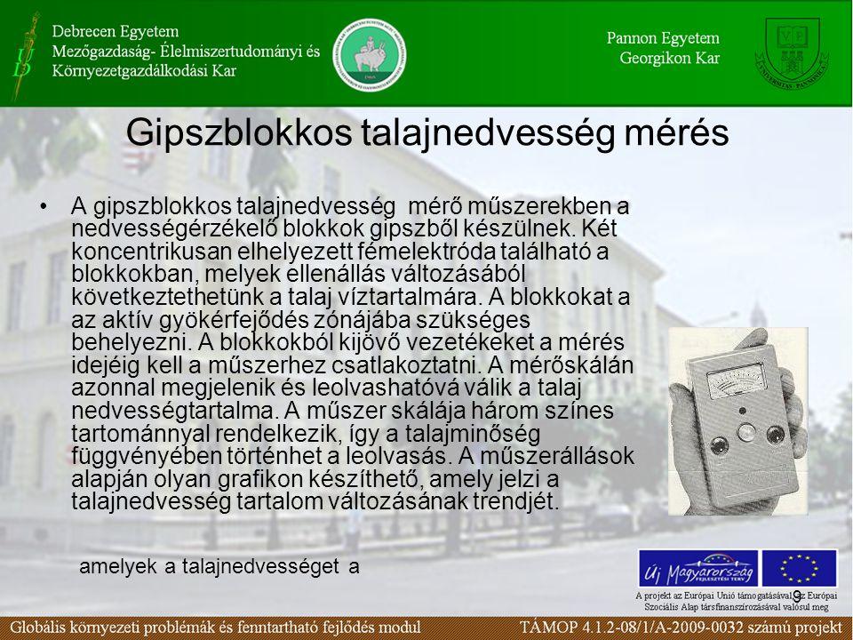9 Gipszblokkos talajnedvesség mérés A gipszblokkos talajnedvesség mérő műszerekben a nedvességérzékelő blokkok gipszből készülnek. Két koncentrikusan