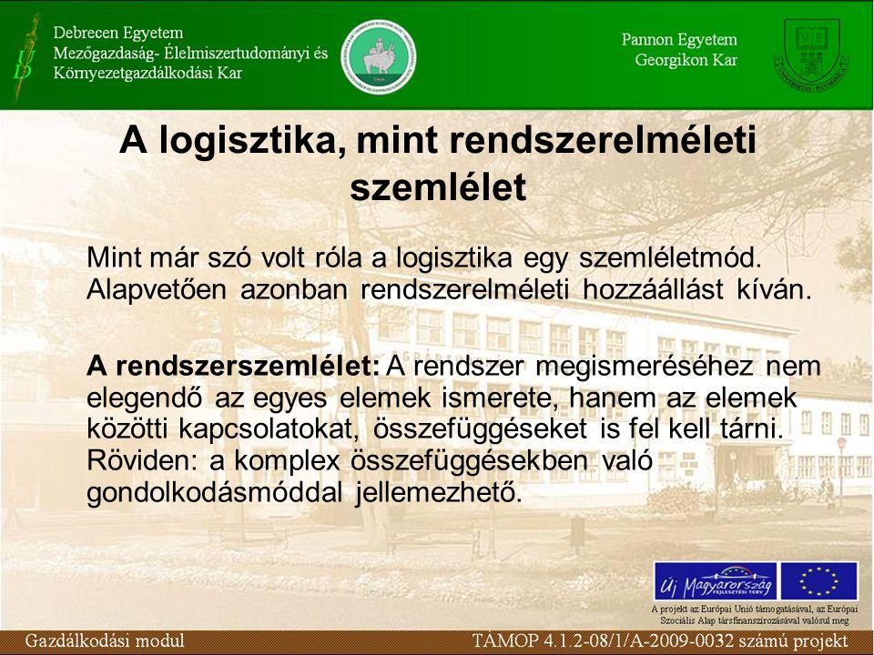 A logisztika, mint rendszerelméleti szemlélet Mint már szó volt róla a logisztika egy szemléletmód.